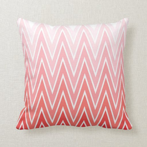 Coral Pink Red Gradient Ombre Chevron Pattern Throw Pillow