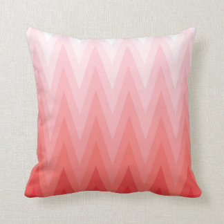 Coral Pink Red Gradient Ombre Chevron Pattern Pillow