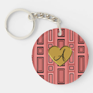 Coral pink Retro squares monogram Double-Sided Round Acrylic Keychain