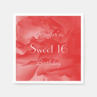 Coral Pink Rose Paper Napkins, Sweet 16 Birthday Napkin