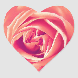 Coral pink rose print heart sticker