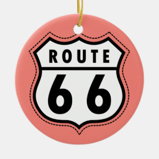 Coral Pink Route 66 sign Double-Sided Ceramic Round Christmas Ornament
