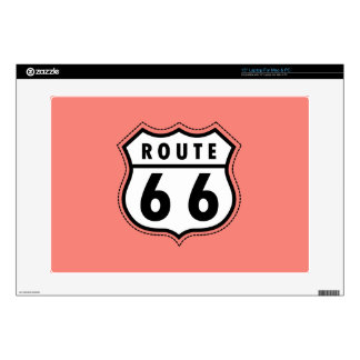 Coral Pink Route 66 sign Decals For Laptops