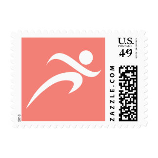 Coral Pink Running Postage Stamp