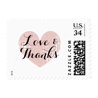 Coral pink rustic heart love and thanks stamps
