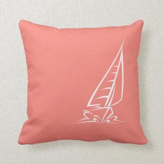 Coral Pink Sailing Throw Pillow