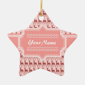 Coral Pink Salmon Deer Pattern | Personalized Ceramic Ornament