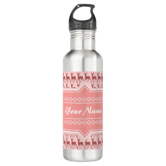 Coral Pink Salmon Deer Pattern Personalized Water Bottle