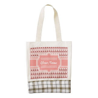 Coral Pink Salmon Deer Pattern Personalized Zazzle HEART Tote Bag
