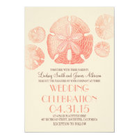 Coral pink sand dollars beach wedding invites