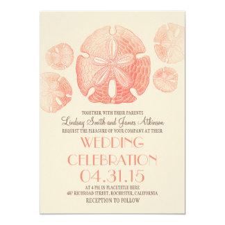 Coral pink sand dollars beach wedding invites