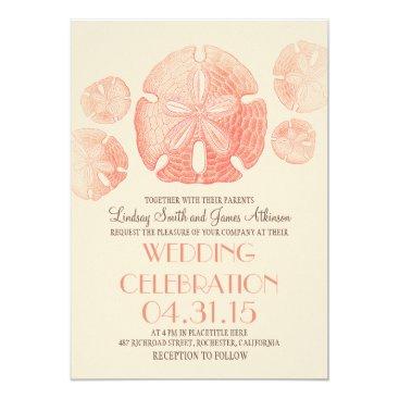 Beach Themed Coral pink sand dollars beach wedding invites