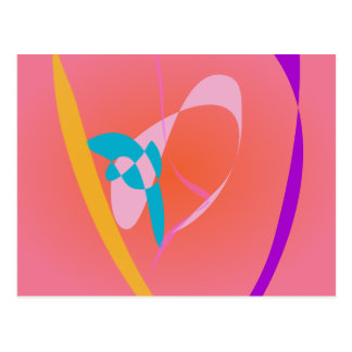 Coral Pink Simple Abstract Art Postcard