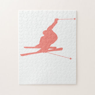 Coral Pink Ski Jigsaw Puzzle