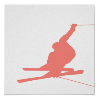 Coral Pink Ski Print