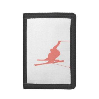 Coral Pink Ski Tri-fold Wallets