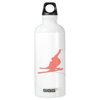 Coral Pink Ski Water Bottle