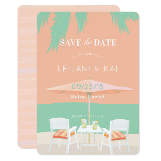Coral Pink Sky Beach Chairs Save the Date Card