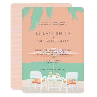 Coral Pink Sky Beach Chairs Wedding Invitation