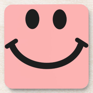 Coral Pink Smiley Face Square Coaster