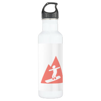 Coral Pink Snowboard Water Bottle
