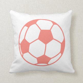 Coral Pink Soccer ball Pillow