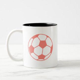 Coral Pink Soccer ball Two-Tone Coffee Mug