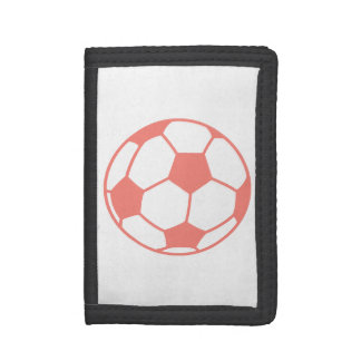 Coral Pink Soccer ball Tri-fold Wallet