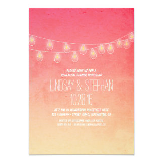 coral pink string lights rehearsal dinner invites