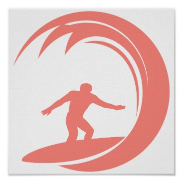 Beach Themed Coral Pink Surfing Poster