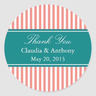 Coral Pink, Teal and White Stripes Thank You Classic Round Sticker