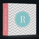 """Coral pink teal gray chevron pattern 3 ring binder<br><div class=""""desc"""">Coral pink teal gray chevron pattern 3 ring binder. Trendy zigzag stripe design with chic monogram name initial letter. Personalizable background color and text. Stylish typography. Classy modern zig zag striped cover. Handy as elegant wedding photo album, recipe book, cook book, couponing, school, office etc. Custom supplies for home and...</div>"""