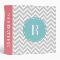 Coral Pink Teal Gray Chevron Pattern 3 Ring Binder at Zazzle