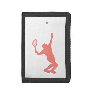 Coral Pink Tennis Tri-fold Wallets