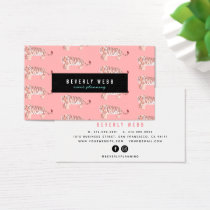 Coral Pink Tiger Pattern Trendy Business Card