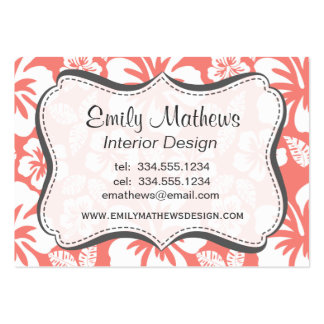 Coral Pink Tropical Hibiscus Large Business Cards (Pack Of 100)