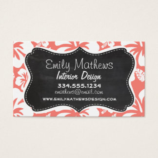 Coral Pink Tropical Hibiscus; Chalkboard look Business Card