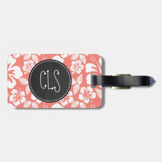 Coral Pink Tropical Hibiscus; Chalkboard look Tag For Luggage
