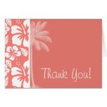 Coral Pink Tropical Hibiscus; Summer Palm Greeting Cards