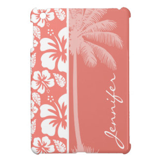 Coral Pink Tropical Hibiscus; Summer Palm Cover For The iPad Mini