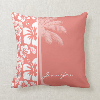Coral Pink Tropical Hibiscus; Summer Palm Pillow