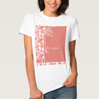 Coral Pink Tropical Hibiscus; Summer Palm Shirt