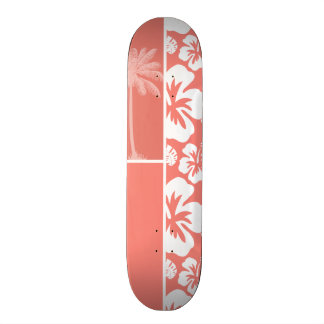 Coral Pink Tropical Hibiscus; Summer Palm Skateboard