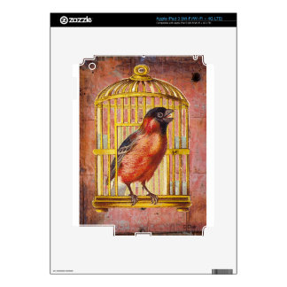 Coral Pink Victorian Bird Gilded Cage iPad 3 Skins