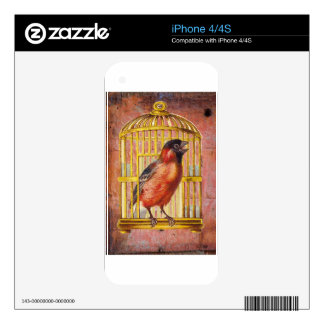 Coral Pink Victorian Bird Gilded Cage Skins For The iPhone 4S