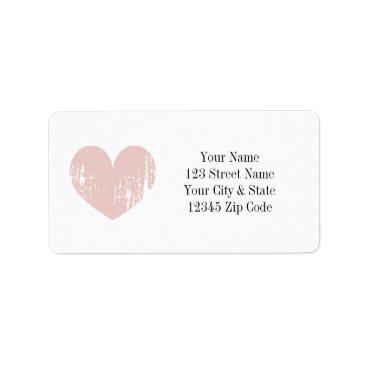 Valentines Themed Coral pink vintage heart address labels