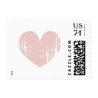 Coral pink vintage love heart wedding stamps