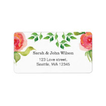 coral pink watercolor floral address label