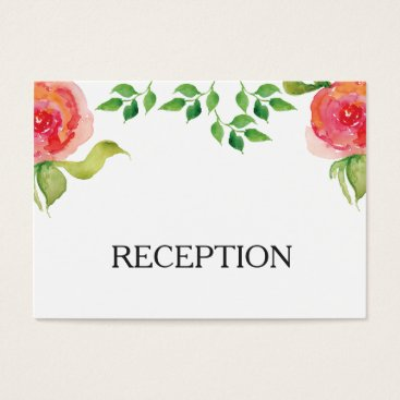 coral pink watercolor floral reception invite
