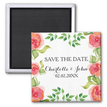 coral pink watercolor floral save the Date Magnet